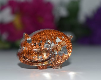 Orgone Energy Orange Hippo Mini 1 pc -Quartz Crystal, Pyrite, Blue Kyanite