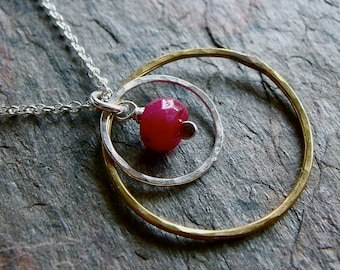 Ruby Sterling Silver and Brass Ring Necklace