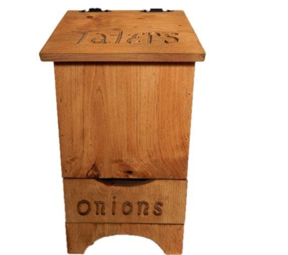 Potato and onion bin,Vegetable bin,Wooden Potato bin,Country Decor,Farmhouse Decor,Rustic Decor,Primitive Decor,Kitchen Bin,Tater Onion Bin