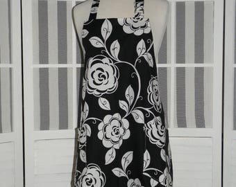 Graphic Black & White Flowers Hostess Apron - FREE or PRIORITY Shipping