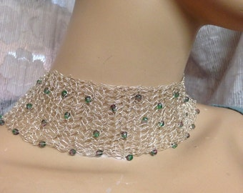 Crochet Knitted choker fine silver and purple and green glass beads necklace handmade