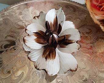 Vintage White Brown Metal Dogwood Flower Brooch Pin 1960s 1970s,  Badge of Honour, Flower Child Era, Sixties Hippies Design