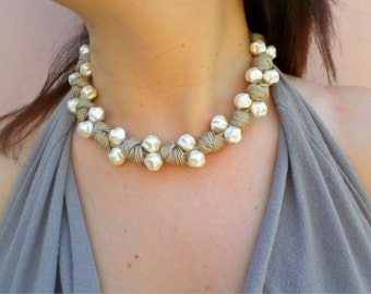 Necklace for women statement necklace boho style handmade jewelrycord necklace beaded necklace pearl jewelry necklace bride necklace