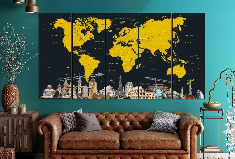 Large world map canvas artworld mapworld map wall artworld map large world map canvas artworld mapworld map wall artworld map canvaslarge world map printpush pin mapworld map traveldetailed map gumiabroncs Images