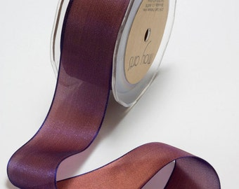 Woven Iridescent Burgundy Ribbon, 1 Inch Ribbon,  Iridescent Ribbon, May Arts Ribbon, Scapbooking, Hair Bows, Gift Bags, 6 Yards