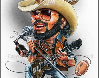 Don Howard's Depiction of Hank Williams, Jr. Limited Edition Celebrity Caricature
