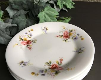 Royal Vale Bread Plates / RVA12 Pink & Lavender Floral Flowers / England / Vintage Set 4 - #S3010