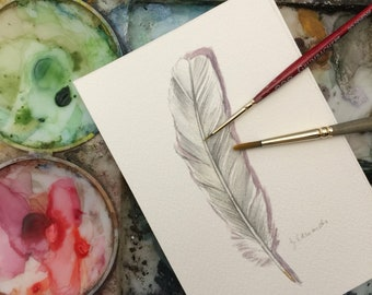 White Dove Feather - Original Watercolor- Nightly Study 396