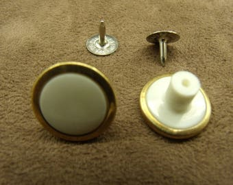 jean - 17 mm - button white & gold