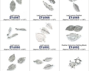 Leaf Leaves Feather Cabochon Setting Blank Jewelry Making Supply Charms Findings