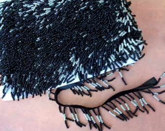 "10 yards 1 3/4"" long ( with 3/8"" black satin ribbon ) Black and White beaded fringe trim for fashion and dancewear ST"