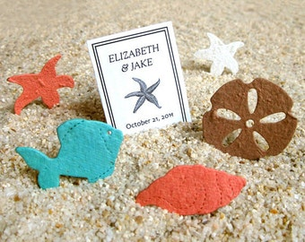 Plantable Beach Wedding Favors - Flower Seed Confetti Shells Starfish Sand Dollars Plantable Paper Starfish Confetti