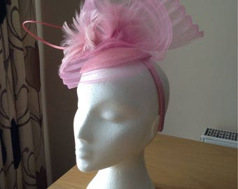 Pale Pink Fascinator Hatinator with a wave of pleated crin on a Band Weddings Races, Kentucky Derby, Mother of Bride, Melbourne Cup