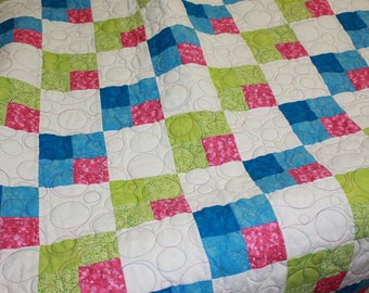 Handmade Modern Baby Girl Quilt Nursery Shower Gift Blanket Bedding Squares and Circles green blue white