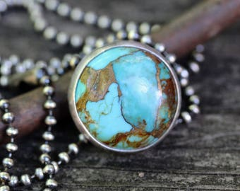 Kingman turquoise necklace / copper infused turquoise / gift for her / sterling silver necklace / silver ball chain / jewelry sale