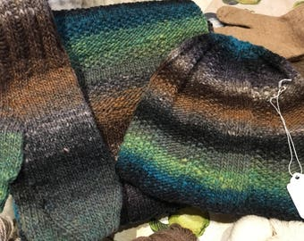 Hand Knit Wool Scarf, Mitten and Hat Combo