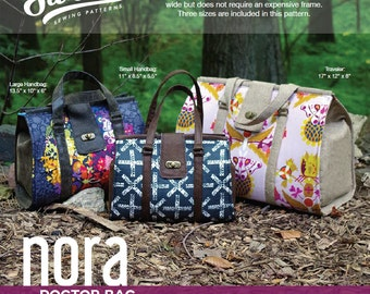 Swoon Patterns: Nora Doctor Bag - PDF Vintage Purse Doctor Bag Carpet Bag Sewing Pattern