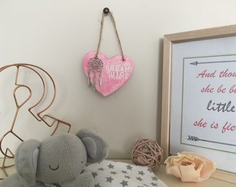 Dreamcatcher hanging heart clay plaque