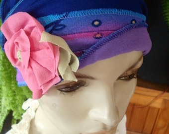 Chemo Hats womens chemo cap Summer Hat turquoise lilac blue with pink flower