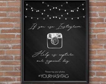 Wedding Instagram Hashtag Sign   Capture the Love   Digital Download   Wedding Hashtag DIY