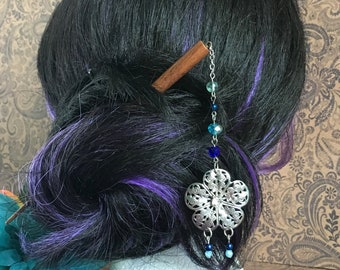 beaded wood hair stick - filigree flower pendant with blue bead accents, hair pick, shawl pin
