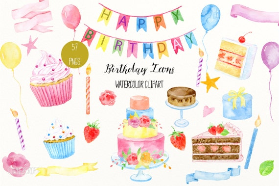 Birthday clip art Watercolor Birthday Icons cakes cupcakes
