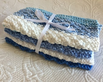 Set of 3 Handmade Knitted 100% Cotton Wash Cloths / Dish Cloths  Blue, White