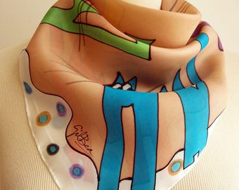 Hand painted Silk Mini-Hand painted Silk scarf - Silk mini-scarf with cats- Woman scarf  21.5x21.5