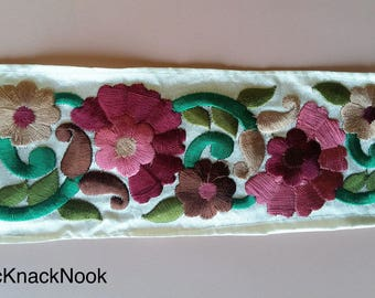 Off White Fabric Trim With Floral Embroidery, Mauve, Brown And Green Trim, 60mm wide - 200317L128