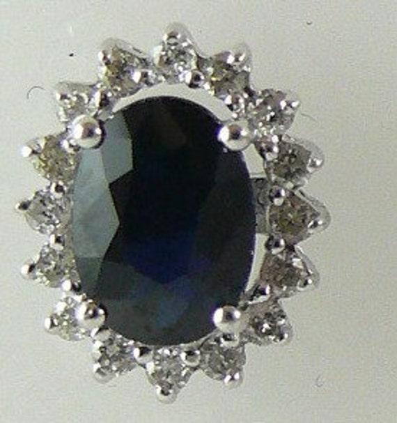 Sapphire Blue 1.95ct Stud Earring 14k White Gold & Diamonds 0.31ct