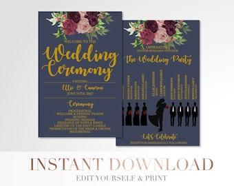 Printable Marsala Floral Wedding Program // Custom Program // Silhouettes Wedding Program // Navy and Gold // Wedding Stationery // Templett