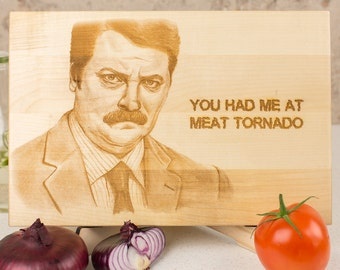 Ron Swanson lineart, Swanson gift board, Parks and Recreation cutting board, You had me at meat tornado, Give me all bacon and eggs you have