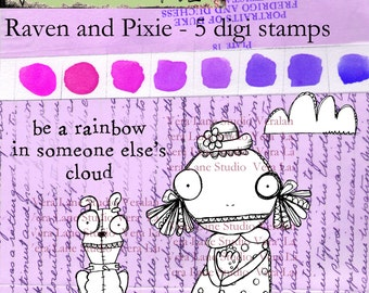 Raven and Pixie - Demure little zombie girl and confident pup digi stamp set available for instant download by Vera Lane Studio