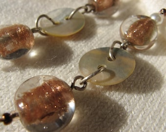 Earrings Cascade of copper and silver plated shell