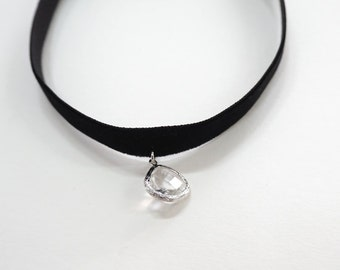 Black Choker,crystal choker, Black Velvet Choker, Basic Velvet Choker,Simple Choker,choker necklace,clear crystal necklace