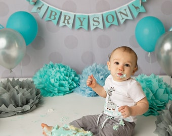 FIRST BIRTHDAY BANNER / 1st Birthday Boy / 1st Birthday Banner / Safari 1st birthday / First birthday boy. Safari baby shower. Aqua and gray