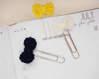 Crochet Mini Bow Planner Clip / Bookmark - Set of 3 - Cream, Dark Blue and Yellow | Stationery for Erin Condren, Filofax, Kikki K