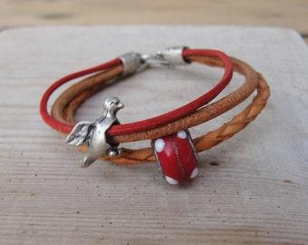 Layer Leather Bracelet - Bird and Mushroom Bracelet Woodland Jewelry Leather and Metal