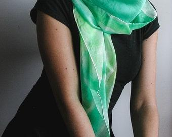 Green Hand Painted Silk foulard