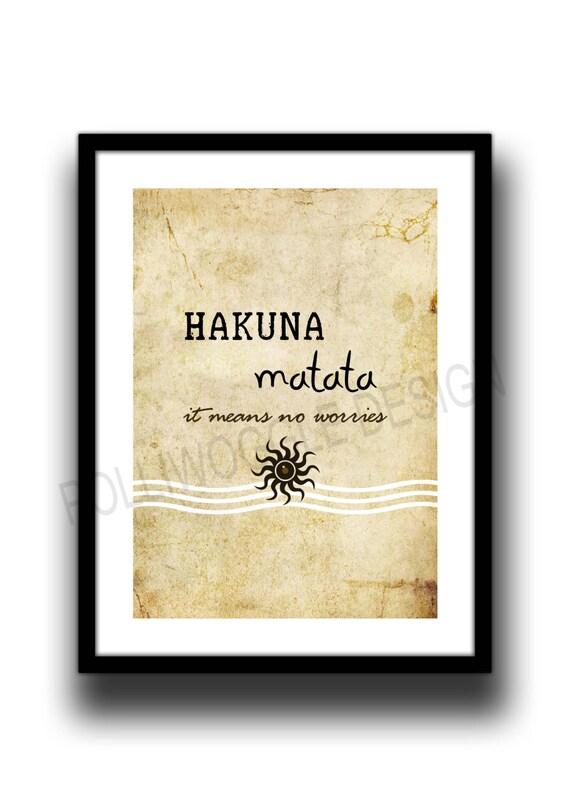 Hakuna Matataquote Poster minimalist wall decor
