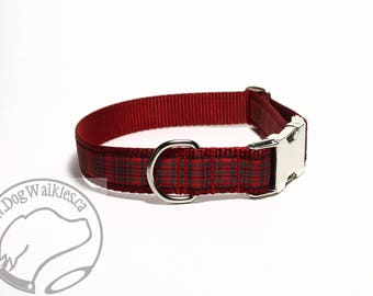 """Wallace (Waverley) Tartan Dog Collar - 1"""" (25mm) Wide - Martingale or Plastic Side Release // Choice of collar style and size // Red Tartan"""