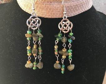 Celtic knot earrings with labradorite and green and gold seed beads