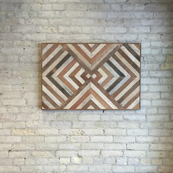 Reclaimed Wood Wall Art | Wood Wall Art | Wood Decor | Wood Art | Large Wall Art | Reclaimed Decor | Geometric Wood Art | Large Art | 36x24