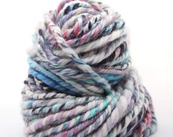 "Handspun Yarn Gently Super Bulky, 54m, 3ply,  Merino 16 micron, Silk Mulberry, angelina "" Frozen Yarn """