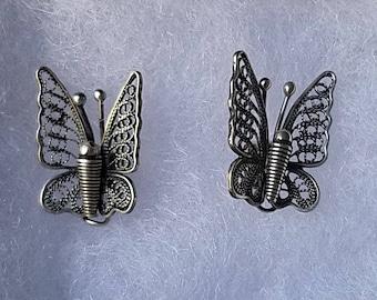 Sterling Silver Butterfly Stud Earring findings, silver filigree, 13x15mm, 1 pair