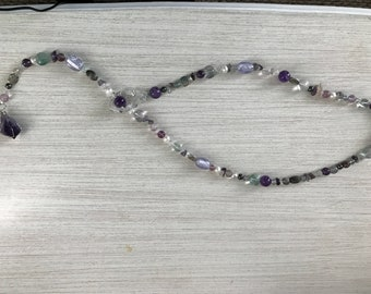 Amethyst and Fluorite Lariat Style Necklace