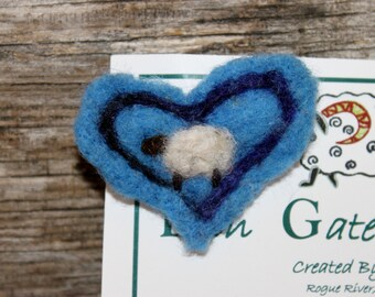 Sheep, Needle Felted Sheep Heart Pin, Felted Sheep Brooch, # 1535