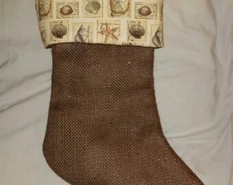 50% Off Burlap Christmas Stocking with Seashell Cuff, Brown Burlap Christmas Stocking, Seashell Christmas Stocking