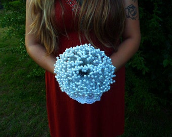 Clearance | pearl bridal bouquet | alternative bridal bouquet | keepsake bouquet | white pearl l bridal bouquet | pearl and lace bouquet