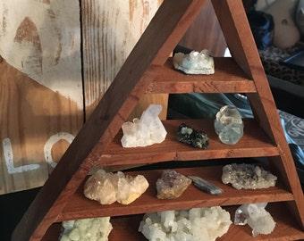 Rustic Pyramid Shelf, Dark Stained Pyramid Shelf, Rustic Crystal Shelf, Geometric Shelf, Triangle Shelf, Crystal Display